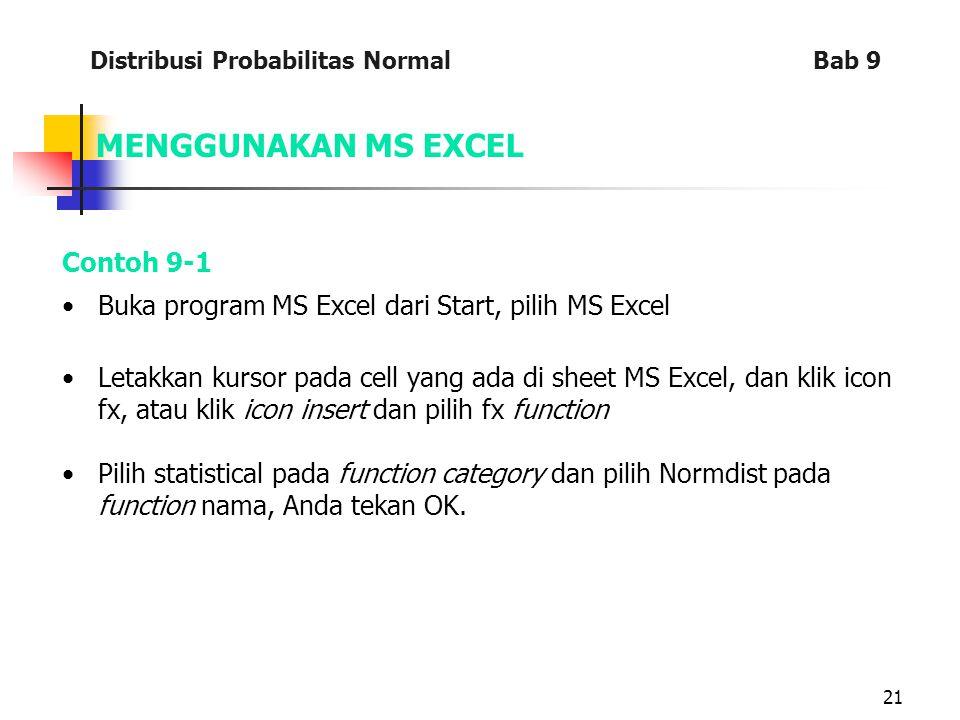 MENGGUNAKAN MS EXCEL Contoh 9-1