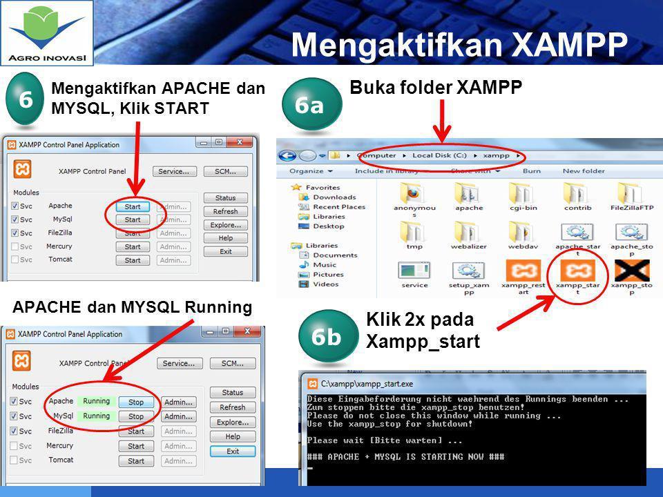 Mengaktifkan XAMPP 6 6a 6b Buka folder XAMPP Klik 2x pada Xampp_start