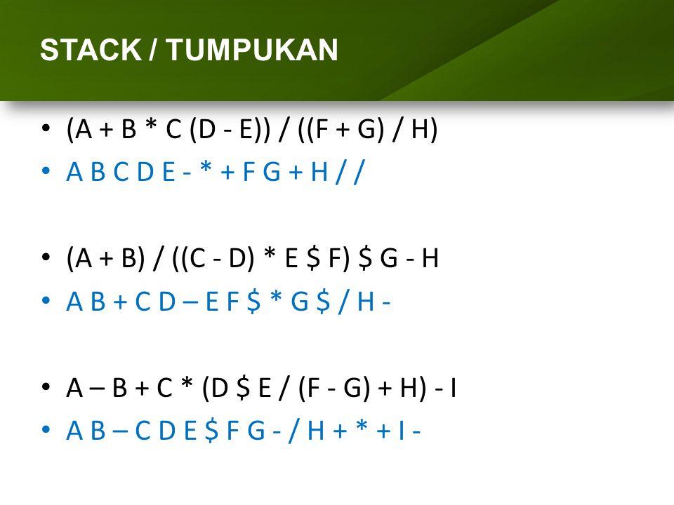 ARRAY (LARIK) STACK / TUMPUKAN (A + B * C (D - E)) / ((F + G) / H)