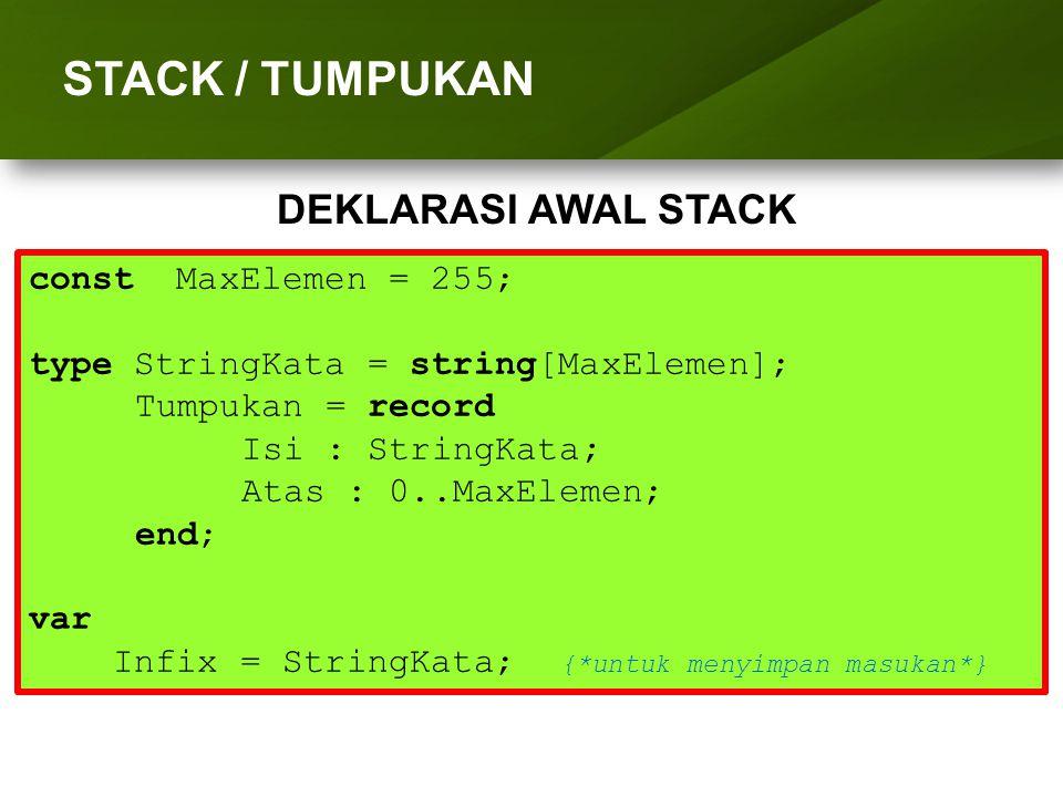 ARRAY (LARIK) STACK / TUMPUKAN DEKLARASI AWAL STACK
