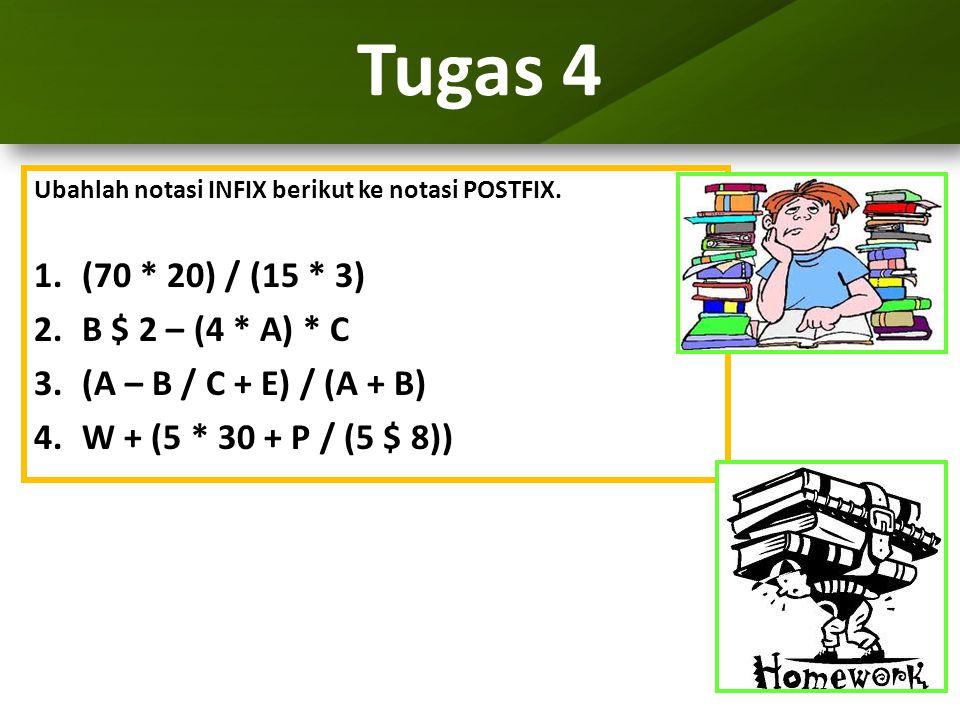 Tugas 4 (70 * 20) / (15 * 3) B $ 2 – (4 * A) * C