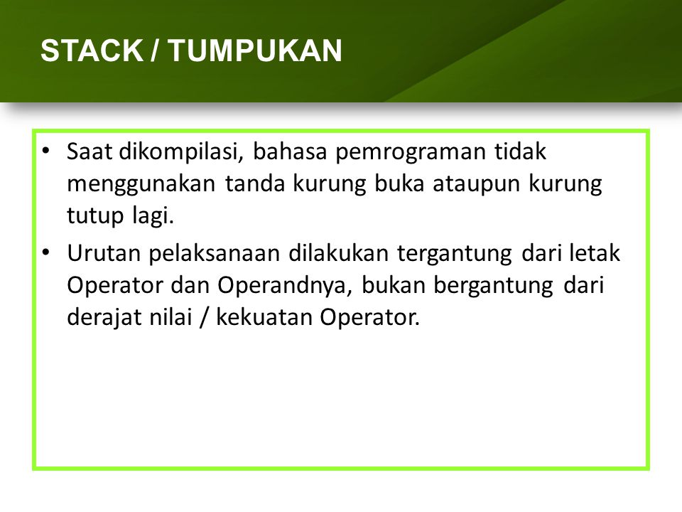 ARRAY (LARIK) STACK / TUMPUKAN