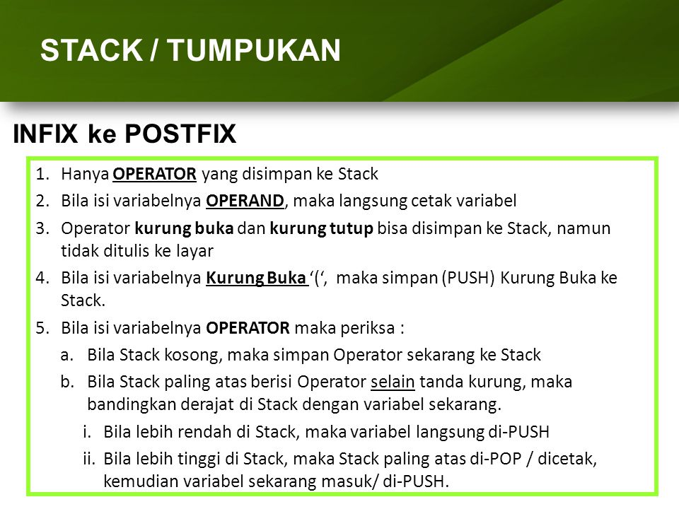 ARRAY (LARIK) STACK / TUMPUKAN INFIX ke POSTFIX
