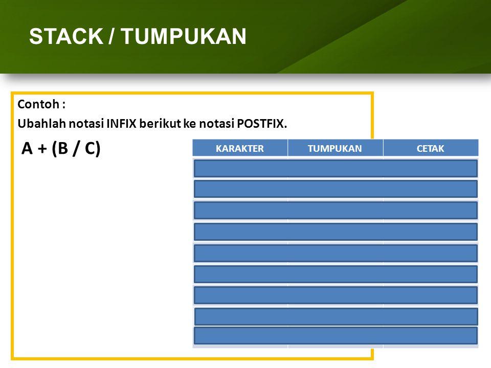 STACK / TUMPUKAN A + (B / C) Contoh :