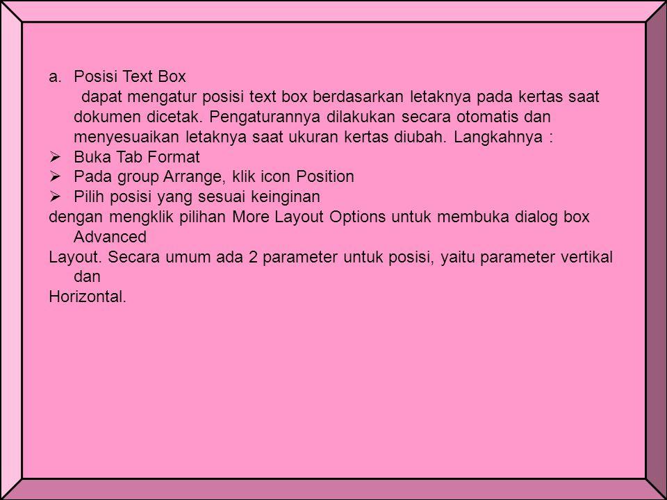 Posisi Text Box