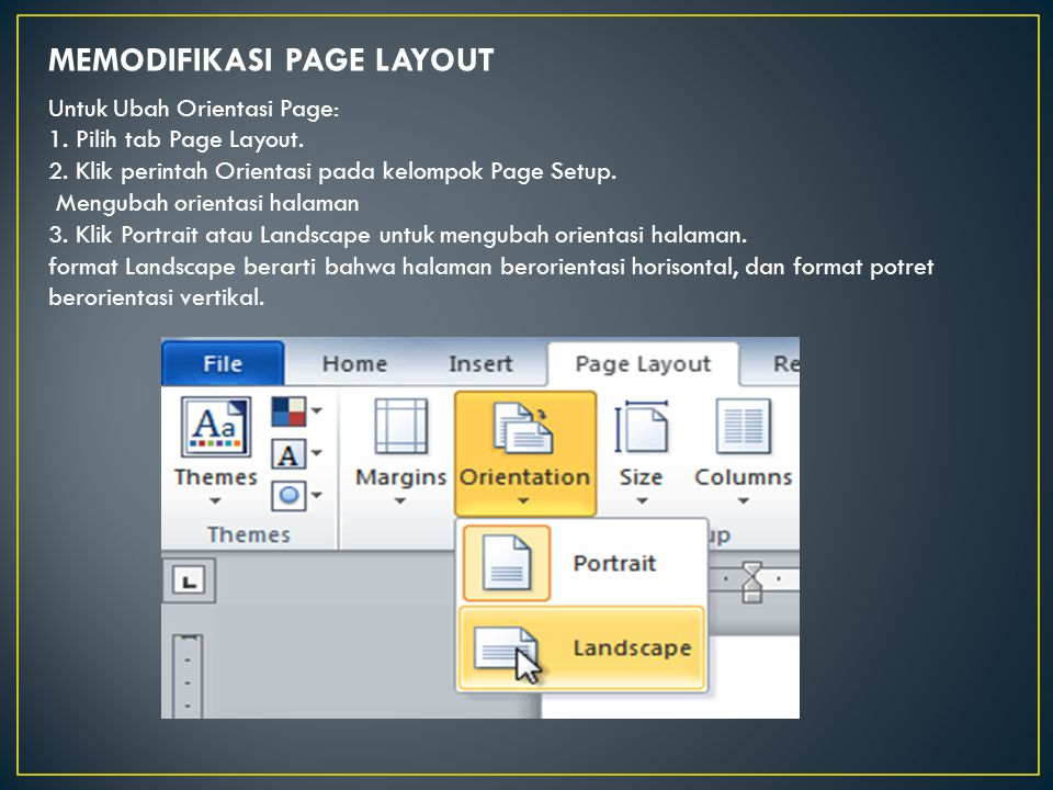 MEMODIFIKASI PAGE LAYOUT