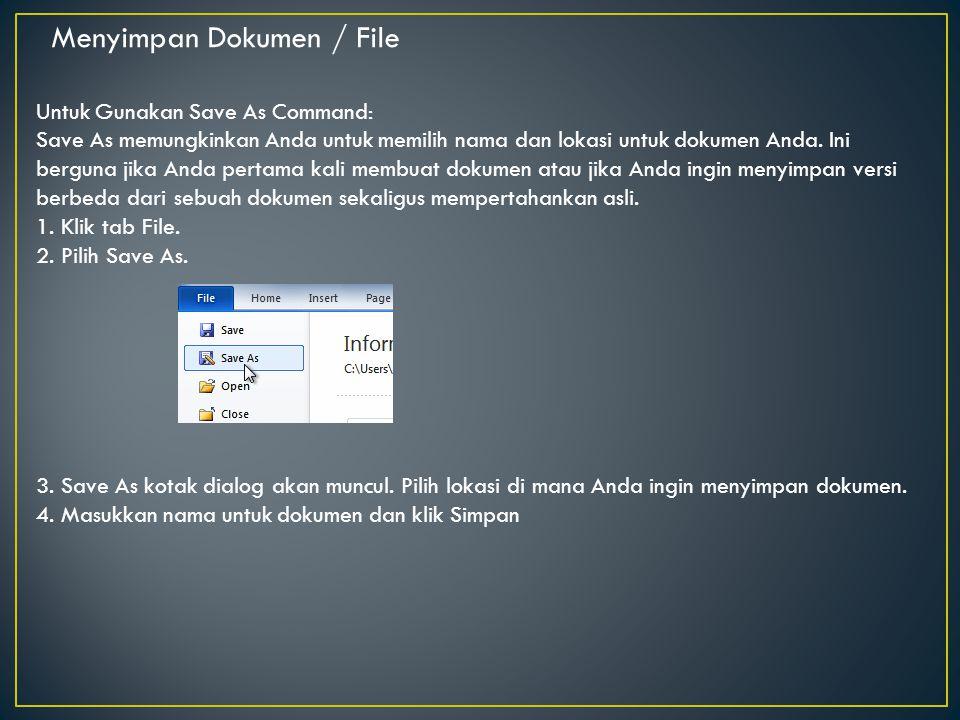 Menyimpan Dokumen / File
