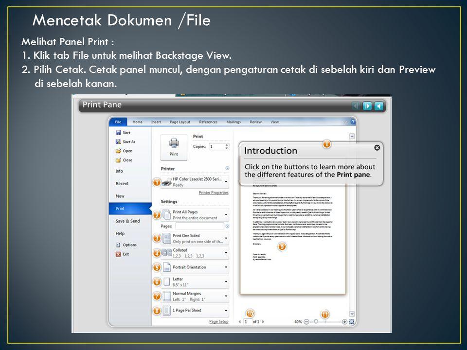 Mencetak Dokumen /File
