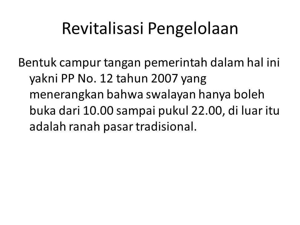 Revitalisasi Pengelolaan