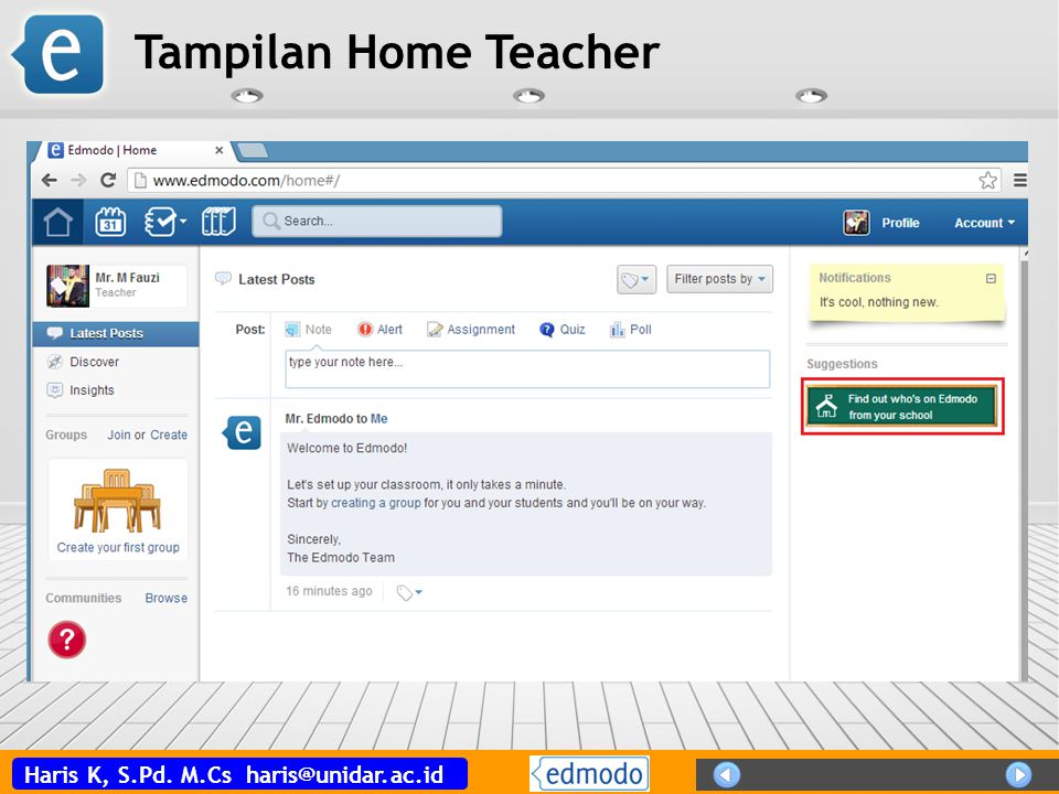 Tampilan Home Teacher