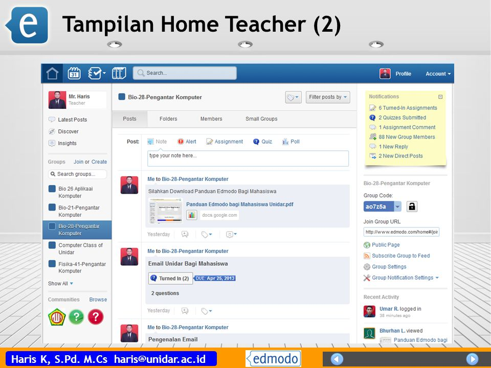 Tampilan Home Teacher (2)