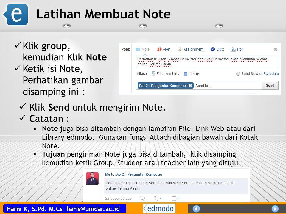 Latihan Membuat Note Klik group, kemudian Klik Note