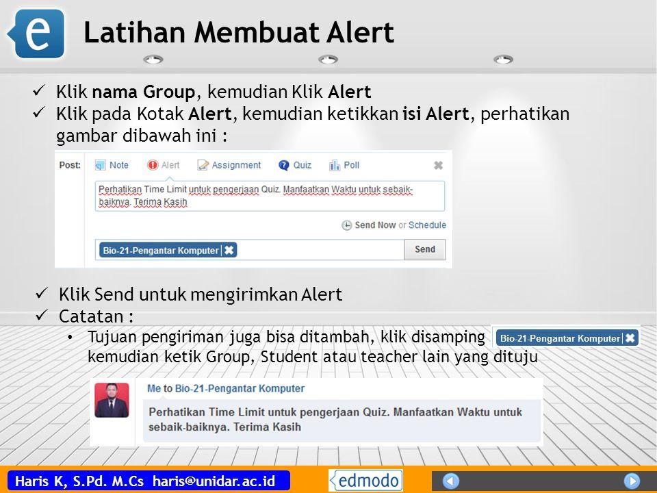 Latihan Membuat Alert Klik nama Group, kemudian Klik Alert