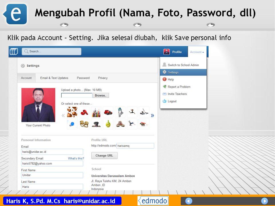 Mengubah Profil (Nama, Foto, Password, dll)