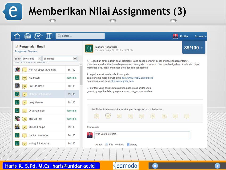 Memberikan Nilai Assignments (3)
