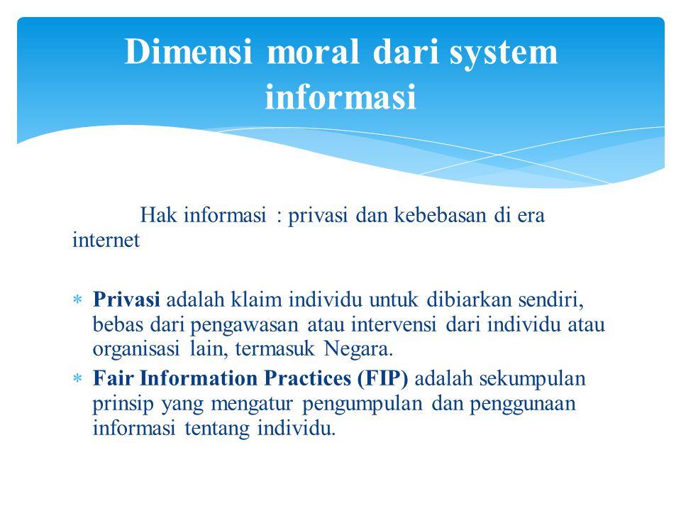 Dimensi moral dari system informasi