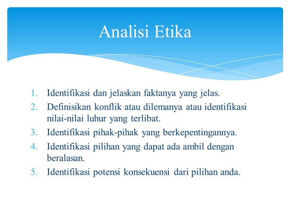 Analisi Etika Identifikasi dan jelaskan faktanya yang jelas.