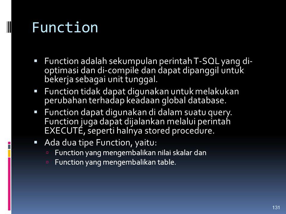 Function Function adalah sekumpulan perintah T-SQL yang di- optimasi dan di-compile dan dapat dipanggil untuk bekerja sebagai unit tunggal.