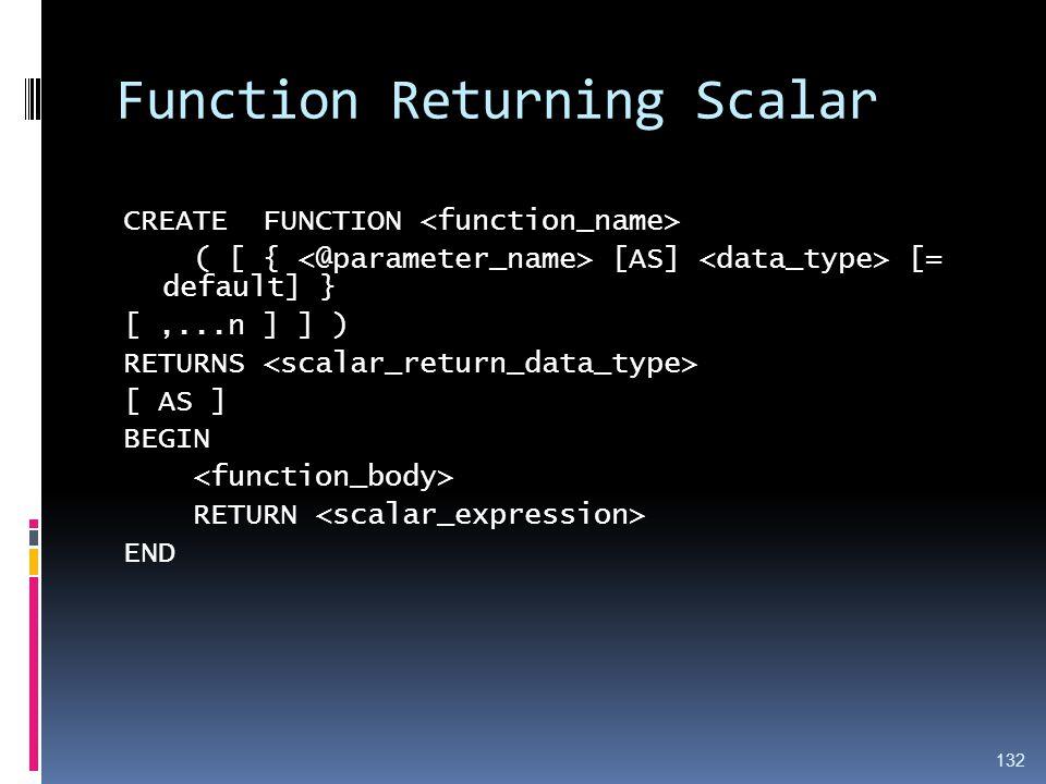 Function Returning Scalar