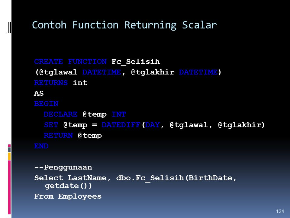 Contoh Function Returning Scalar