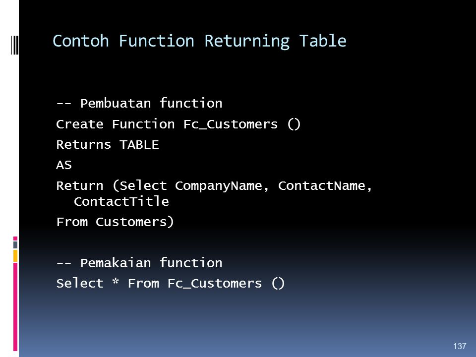 Contoh Function Returning Table