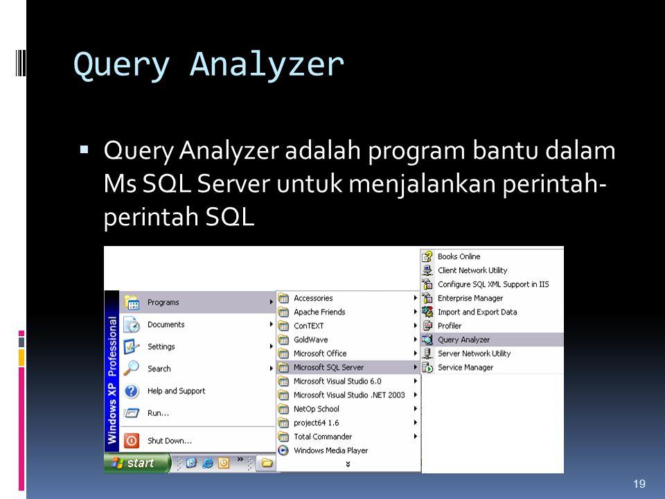 Query Analyzer Query Analyzer adalah program bantu dalam Ms SQL Server untuk menjalankan perintah- perintah SQL.