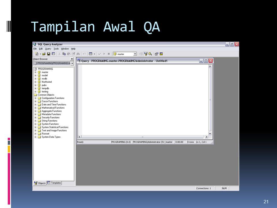 Tampilan Awal QA