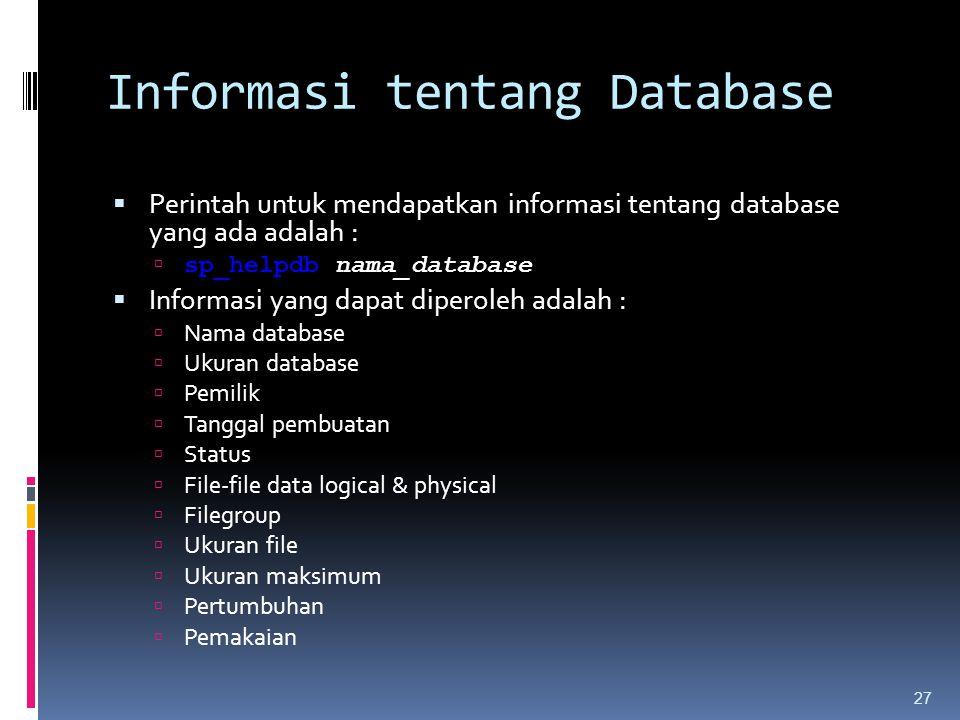 Informasi tentang Database