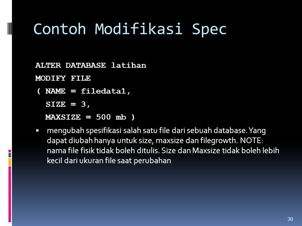 Contoh Modifikasi Spec