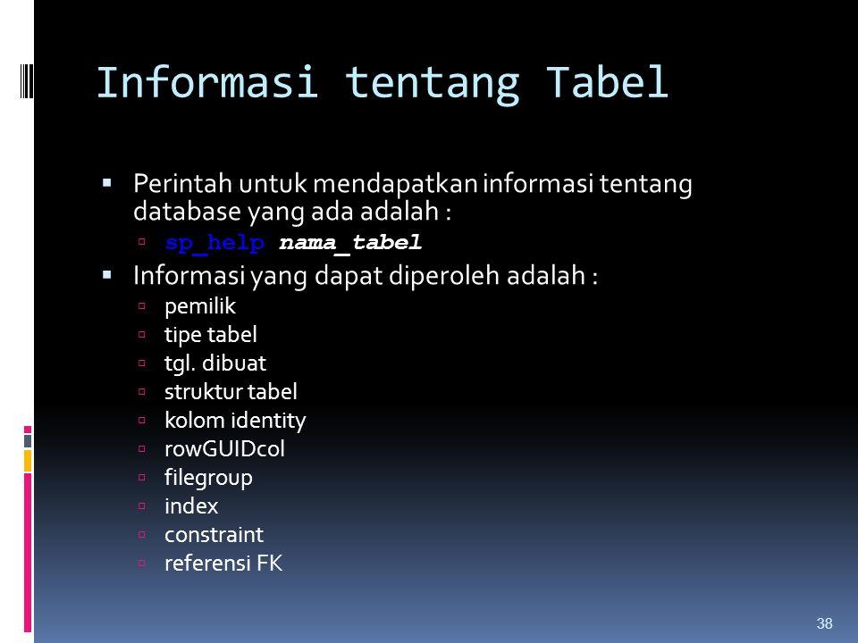 Informasi tentang Tabel