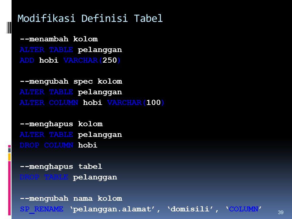 Modifikasi Definisi Tabel