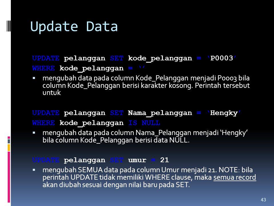 Update Data UPDATE pelanggan SET kode_pelanggan = 'P0003'