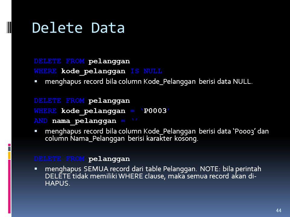 Delete Data DELETE FROM pelanggan WHERE kode_pelanggan IS NULL