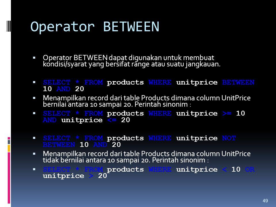 Operator BETWEEN Operator BETWEEN dapat digunakan untuk membuat kondisi/syarat yang bersifat range atau suatu jangkauan.