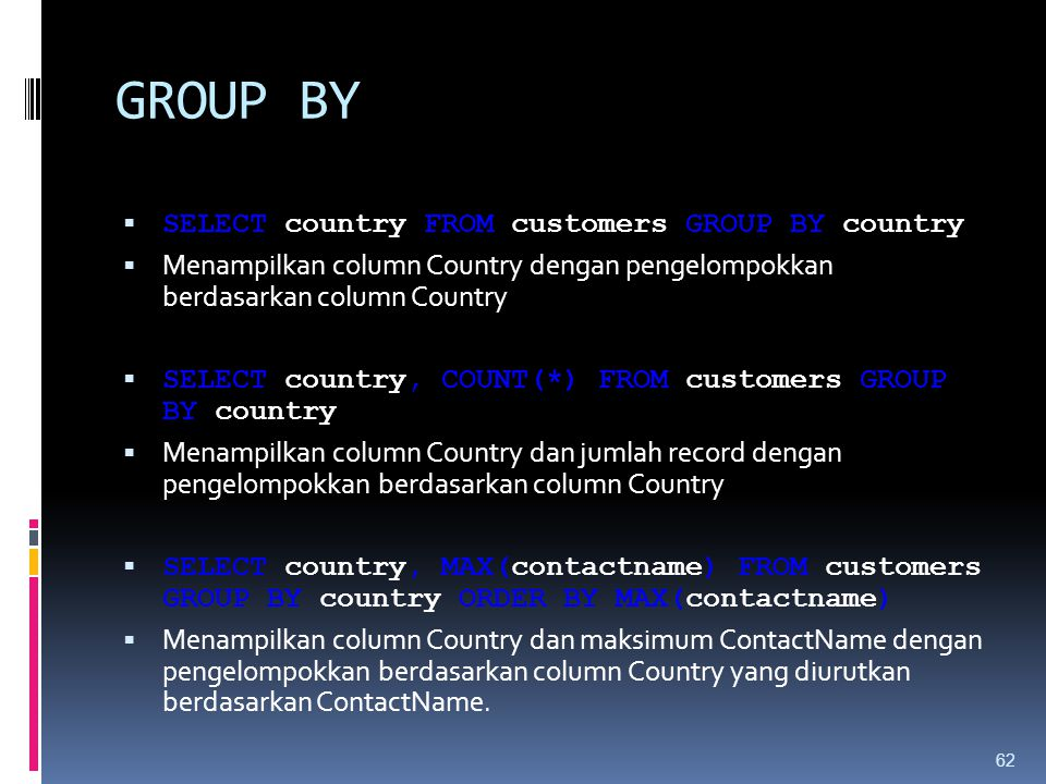 GROUP BY SELECT country FROM customers GROUP BY country
