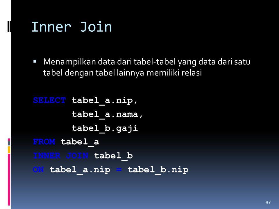Inner Join Menampilkan data dari tabel-tabel yang data dari satu tabel dengan tabel lainnya memiliki relasi.