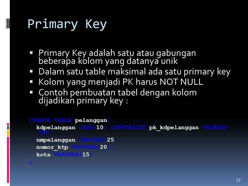 Primary Key Primary Key adalah satu atau gabungan beberapa kolom yang datanya unik. Dalam satu table maksimal ada satu primary key.