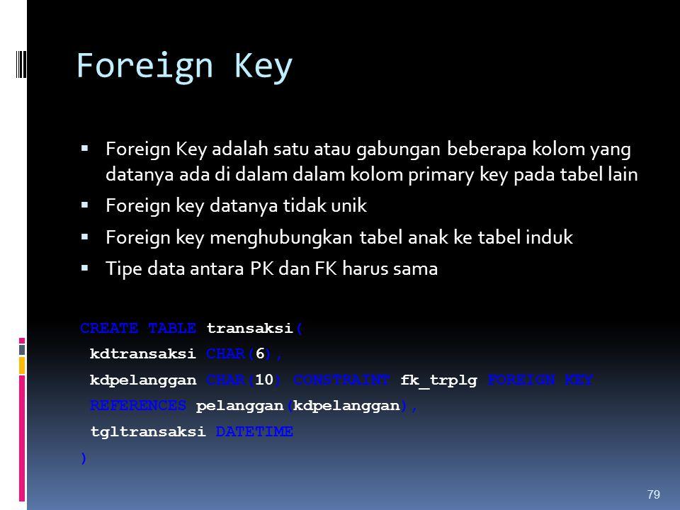 Foreign Key Foreign Key adalah satu atau gabungan beberapa kolom yang datanya ada di dalam dalam kolom primary key pada tabel lain.