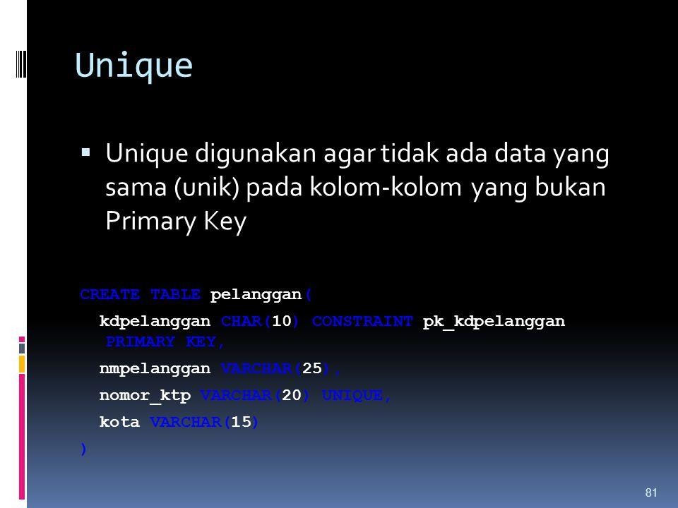 Unique Unique digunakan agar tidak ada data yang sama (unik) pada kolom-kolom yang bukan Primary Key.