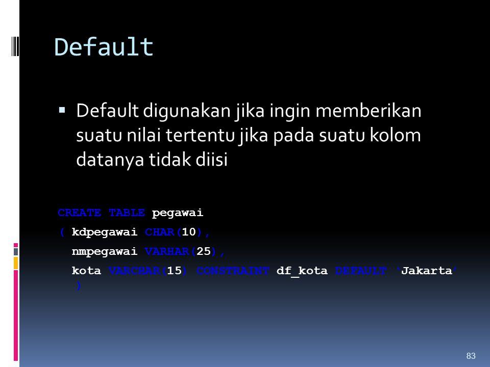 Default Default digunakan jika ingin memberikan suatu nilai tertentu jika pada suatu kolom datanya tidak diisi.
