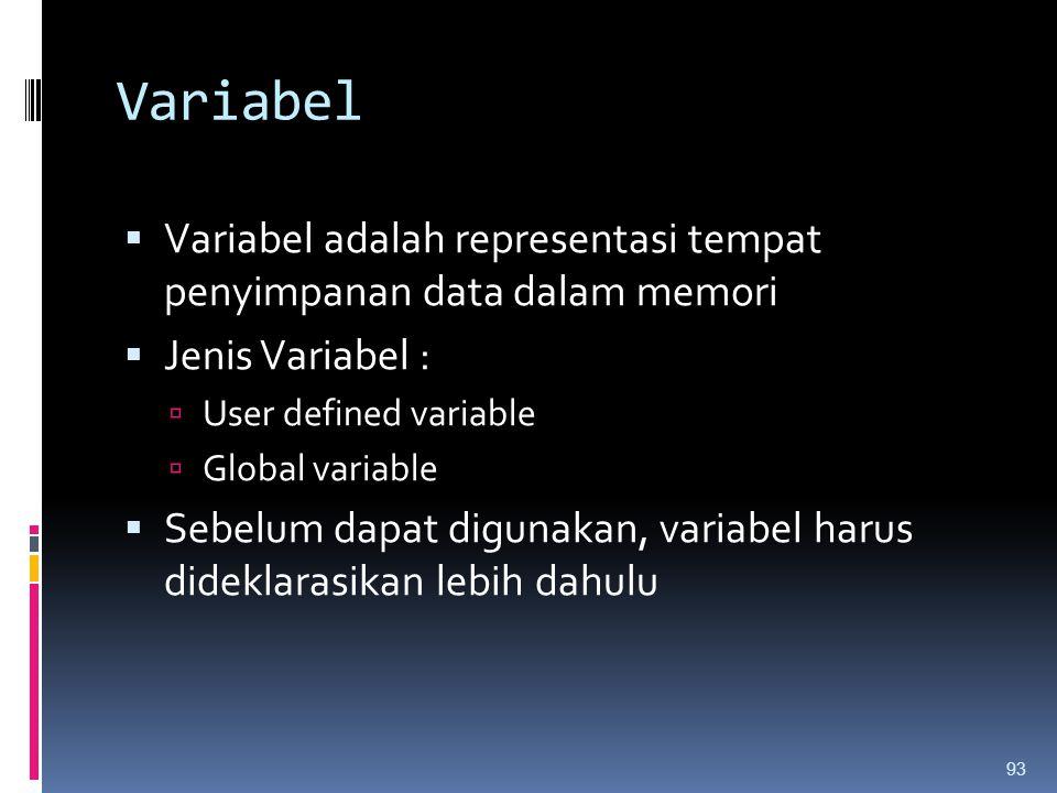Variabel Variabel adalah representasi tempat penyimpanan data dalam memori. Jenis Variabel : User defined variable.