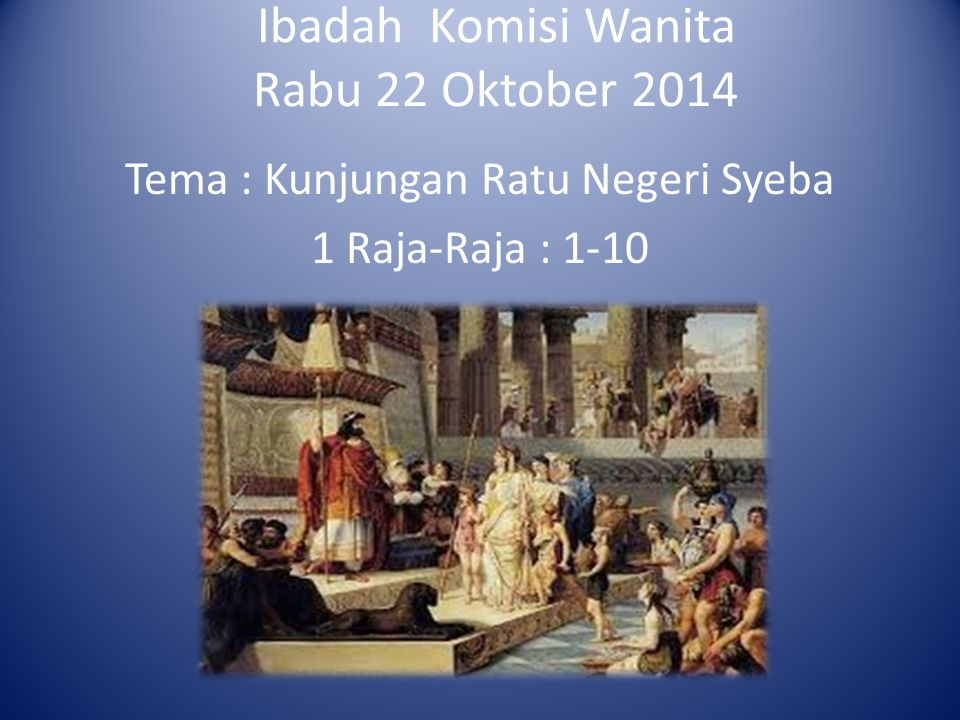 Ibadah Komisi Wanita Rabu 22 Oktober 2014