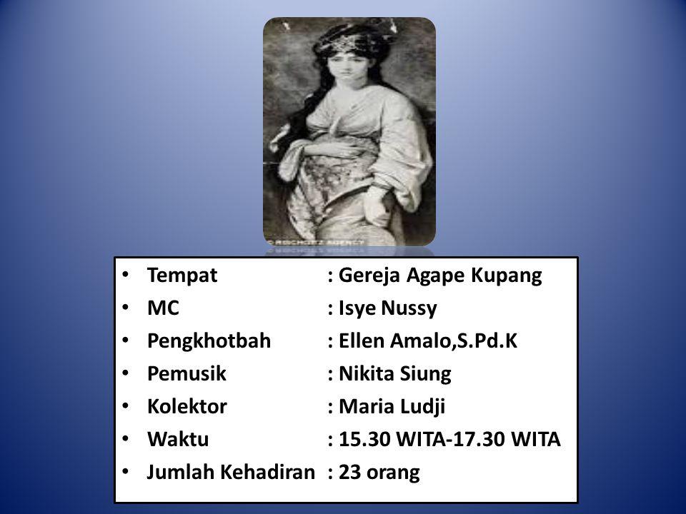 Tempat : Gereja Agape Kupang