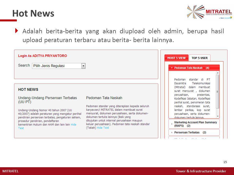 Hot News Adalah berita-berita yang akan diupload oleh admin, berupa hasil upload peraturan terbaru atau berita- berita lainnya.
