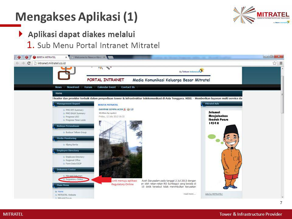 Mengakses Aplikasi (1) Aplikasi dapat diakes melalui