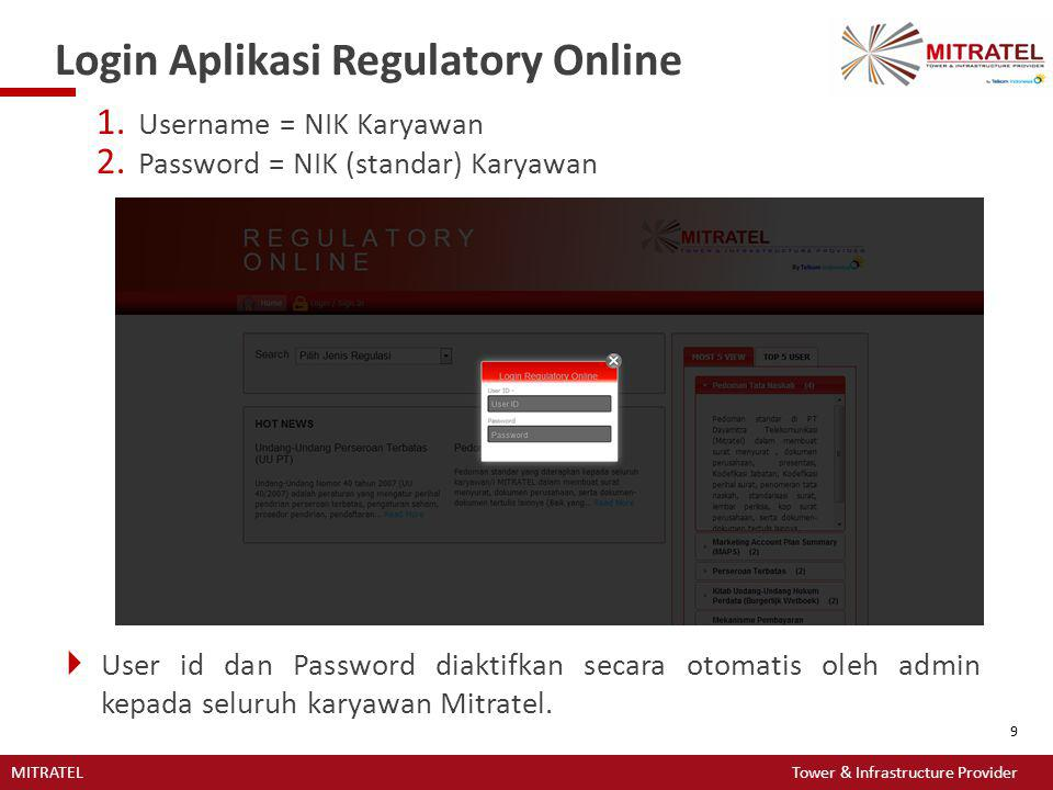 Login Aplikasi Regulatory Online