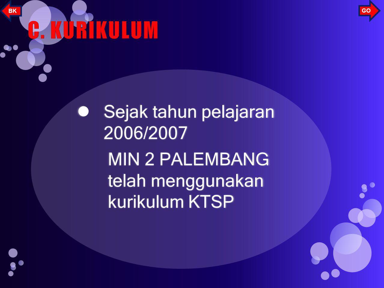 C. KURIKULUM Sejak tahun pelajaran 2006/2007
