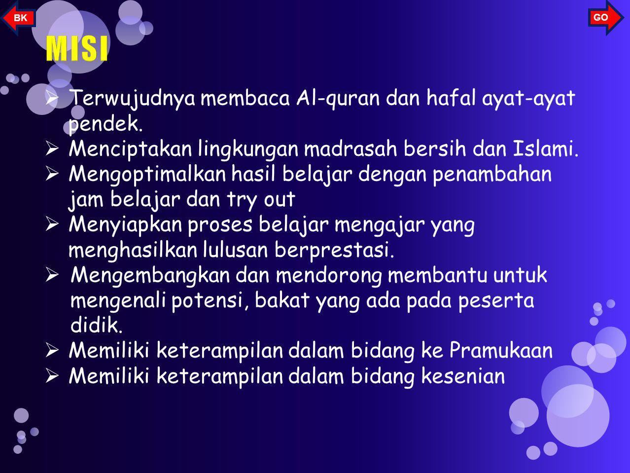 MISI Terwujudnya membaca Al-quran dan hafal ayat-ayat pendek.