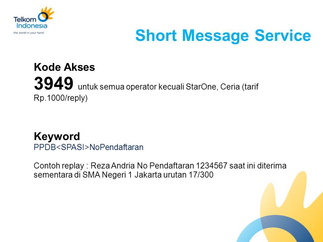 3949 untuk semua operator kecuali StarOne, Ceria (tarif Rp.1000/reply)
