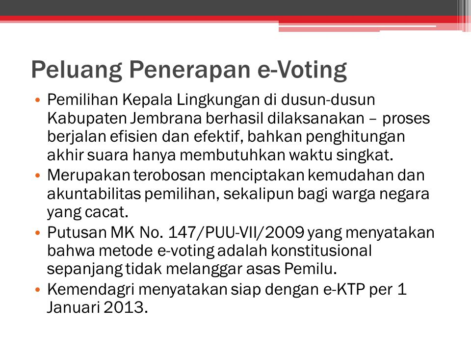 Peluang Penerapan e-Voting